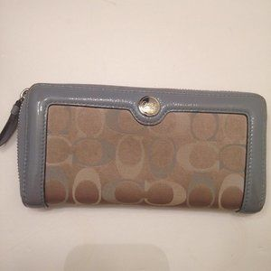 COACH BLUE JACQUARD LEATHER ACCORDION WALLET ZIPS